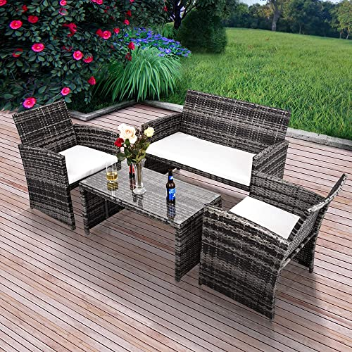 GOJOOASIS Outdoor Patio Furniture Wicker Rattan Sofa Sectional 4PCS Garden Conversation Set