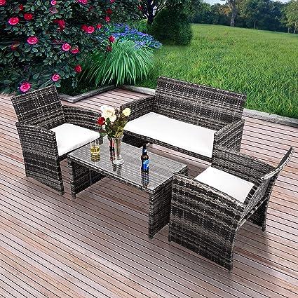 GOJOOASIS - Muebles de Exterior para Patio, Mimbre, sofá, seccional, 4 Piezas, Juego de conversación para jardín, Color Gris con Asiento y cojín Trasero: Amazon.es: Jardín