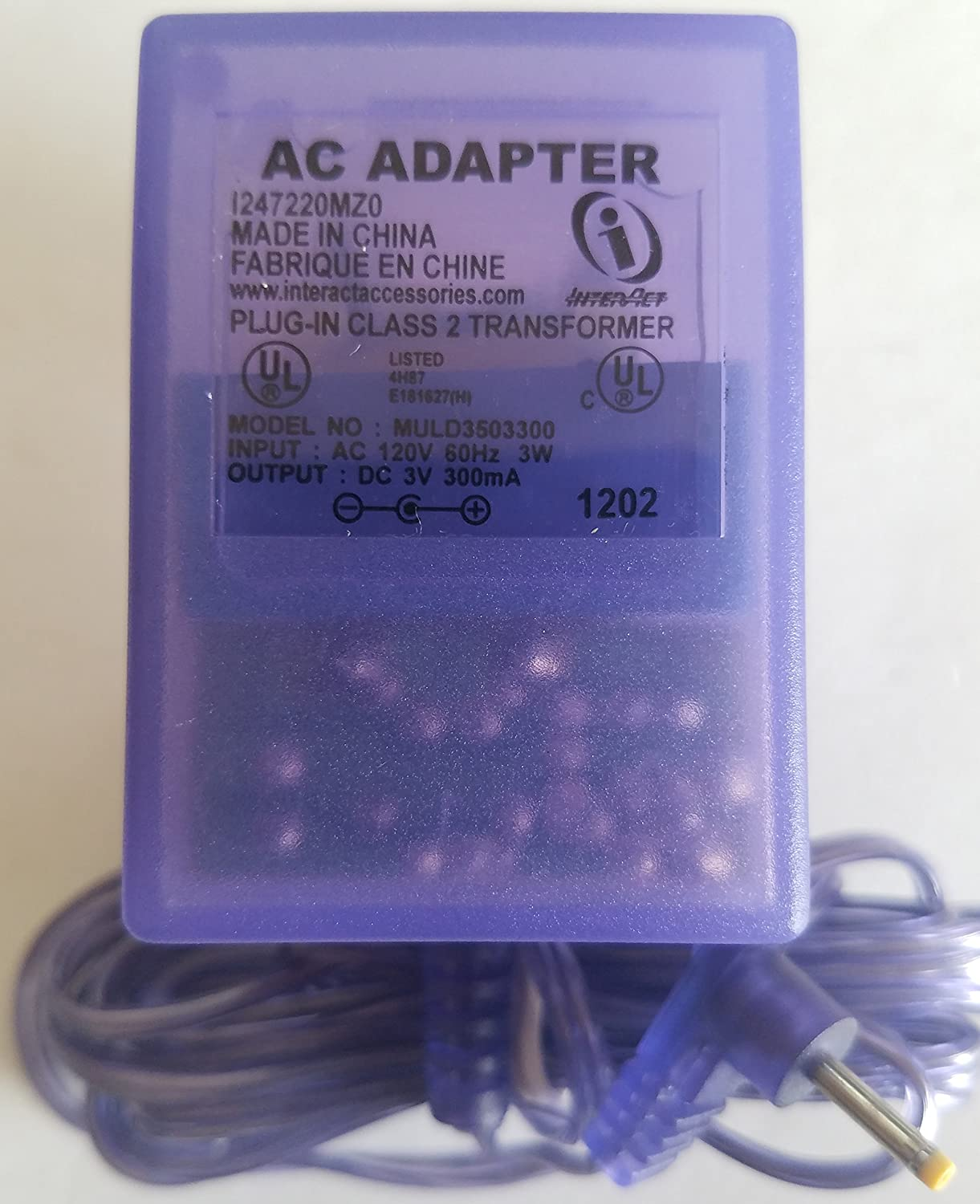 Game Boy Color AC Power Adapter Clear Purple