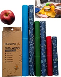 Beeswax Wrap Beeswax Reusable Food Wraps 6 Pack Kit | Bees Wrap Reusable Food Wrap Roll Paper Covers | Zero Waste Organic Bee Wax Eco Friendly Products Cotton Covering Bee's Wrappers Alternative Gift