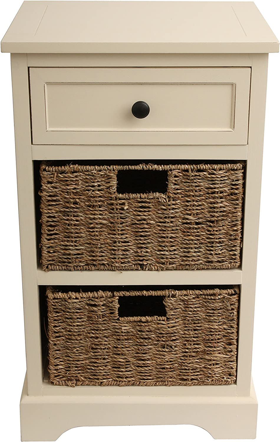 Décor Therapy 2 Drawer, 2 Baskets, Antique White Finish