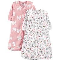 Girls' 2-Pack Microfleece Long-Sleeve Sleepbag, Pink Cats/Animals, 6-9 Months