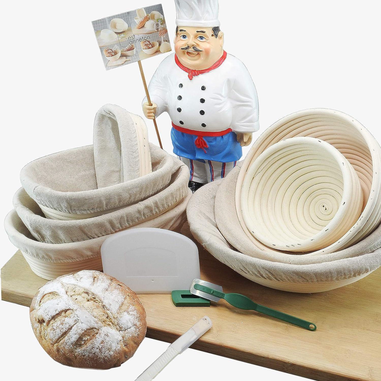 Bread Proofing Basket 9 Inch frieling Best banneton bakery bread banneton basket bread dough bucket with liner bread dough mixing bowl bread proofing tower