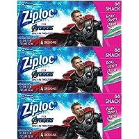Ziploc Snack Bags, Easy Open Tabs, 66 Count, Pack of 3 (198 Total Bags)- Featuring Marvel Studios' Avengers: Endgame