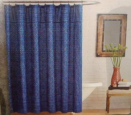 Amazon Anthology Happy Indigo Shower Curtain 100 Cotton 72 X