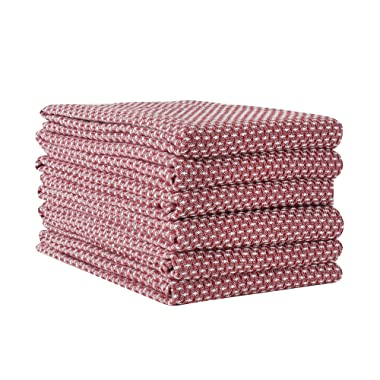 Linen and Towel 6 Pack Premium Cotton Kitchen Dish Towel, 18 inch x 28 inch, Ring Spun Cotton in Picque Weave, Maroon, Multi-Purpose Kitchen Napkin, Dish Towels