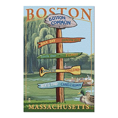 Boston, Massachusetts - Neighborhoods Destinations Sign (Premium 1000 Piece Jigsaw Puzzle for Adults, 20x30, Made in USA!): Toys & Games
