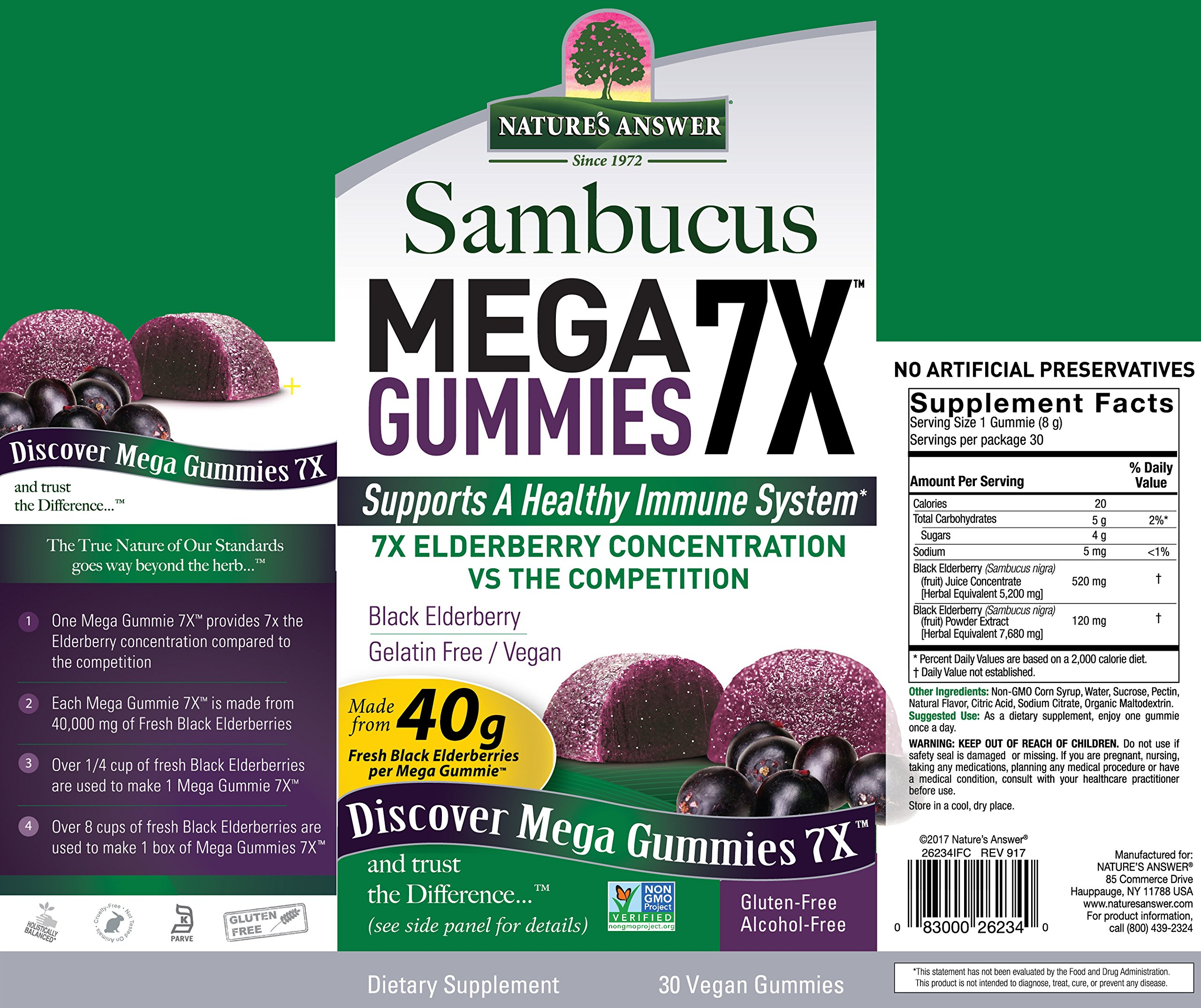 Nature's Answer Sambucus Mega Black Elderberry Gummies, 7X More Elderberry Concentration, 60 Count (2 Pack) by Nature's Answer (Image #3)