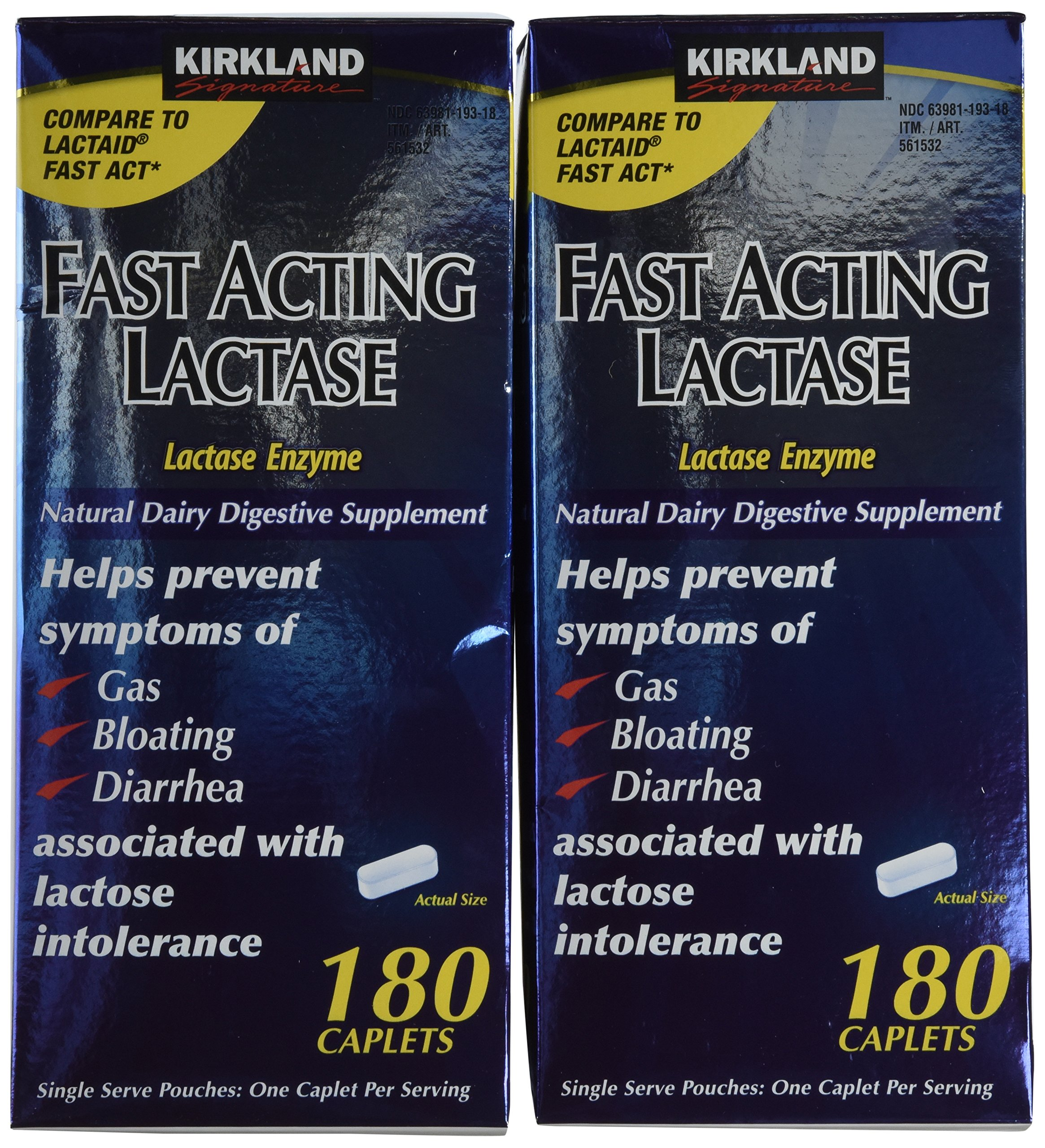 Kirkland Signature Fast Acting Lactase, (2 Pack), 360 Ct Caplets by Kirkland Signature