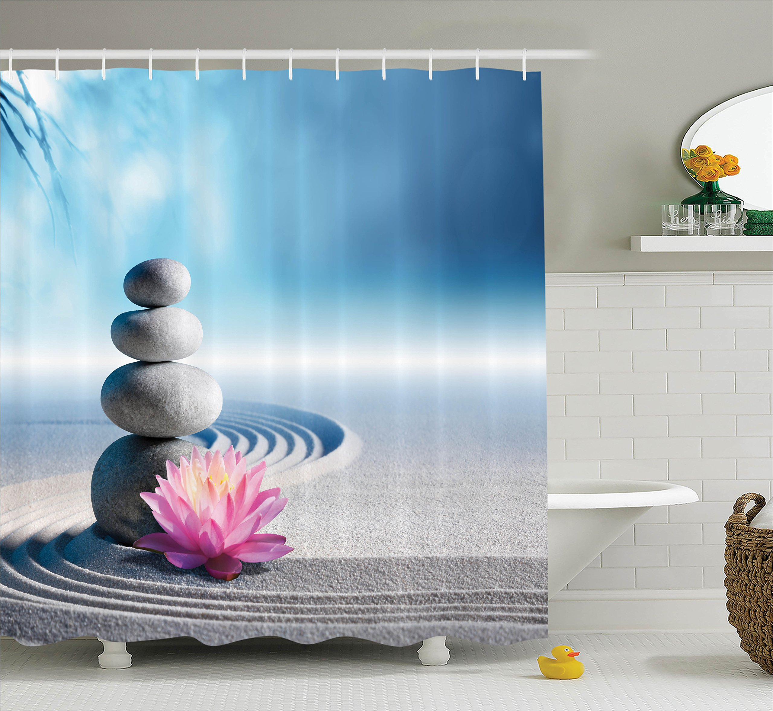 Ambesonne Spa Decor Shower Curtain Set, Stones and Lotus Flower Over Sand Meditation Harmony Balance Flourish Your Spirit Theme, Bathroom Accessories, 75 inches Long, Grey Blue Pink