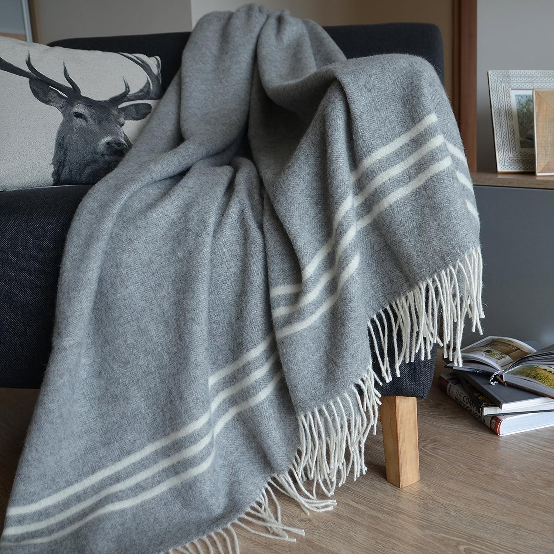 Gris Linen /& Cotton Manta Plaid de Sof/á//Cama Brooklyn de 100/% Pura Lana Merina,140 x 200cm