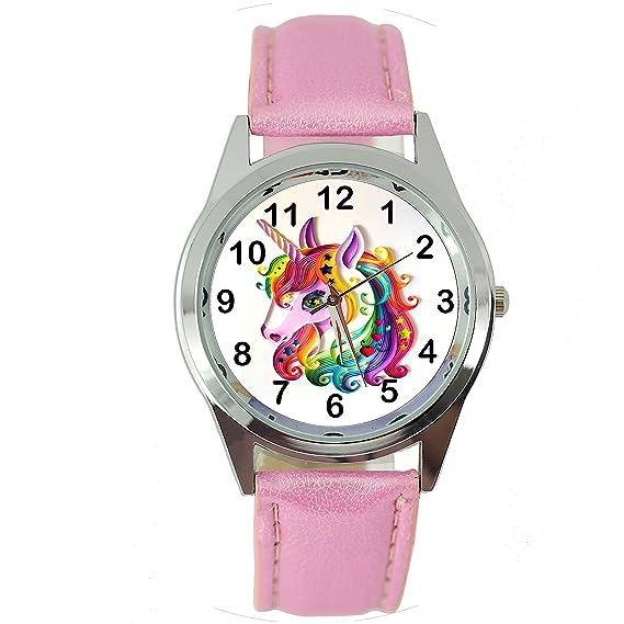 TAPORT® UNICORN - Reloj de cuarzo con correa de piel rosa E1 + batería de