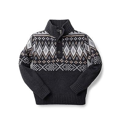 Amazon.com: Hope & Henry Boys' Grey Fair Isle Mock Neck Sweater ...