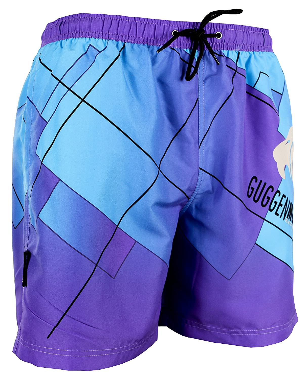 GUGGEN MOUNTAIN Men's swimming trunks out of High-Tec Material swim shorts bathing drawers bathers slip purple blue *High Quality Print*