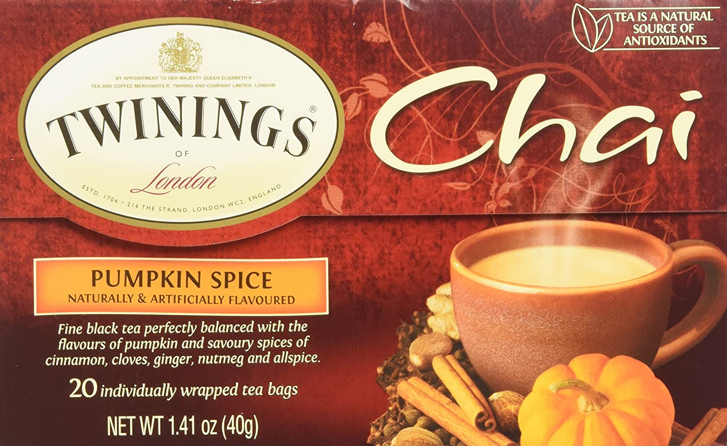Twinings Pumpkin Spice Chai Tea, 40 Count