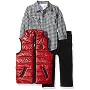 Calvin Klein Baby 3 Pc Vest Set Boys, red/Black, 24M