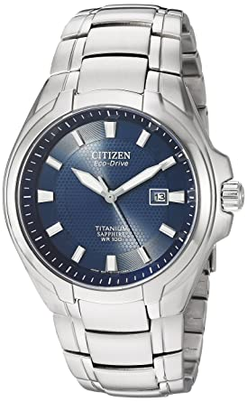 a0cc04b33 Amazon.com: Citizen Men's Eco-Drive Titanium Watch with Date, BM7170 ...