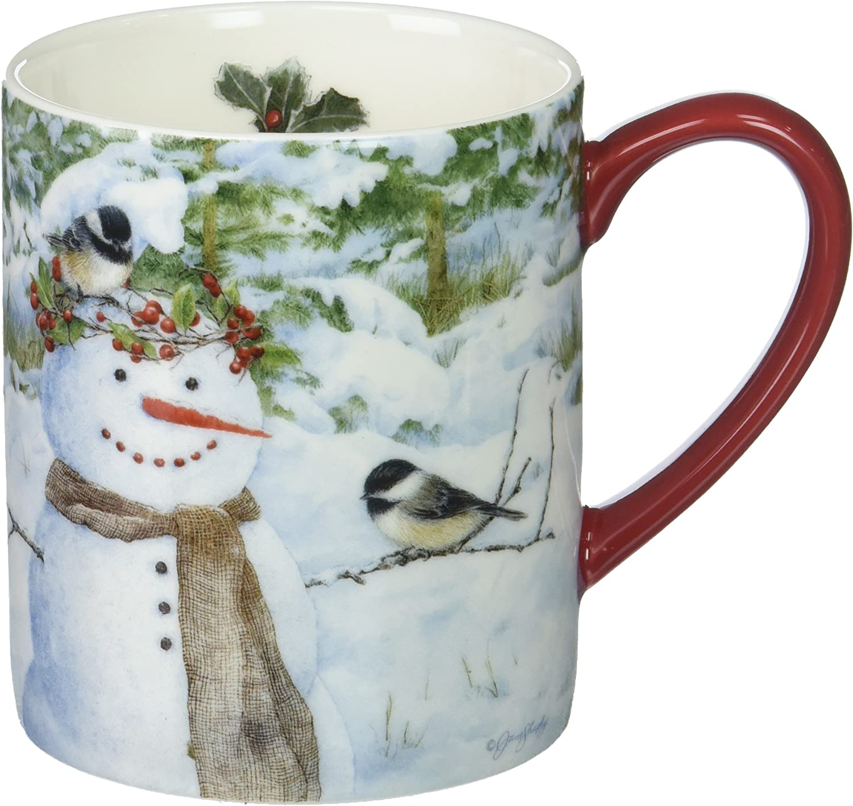 Lang Chickadee Snowman Mug by Jane Shasky, 14 oz, Multicolored