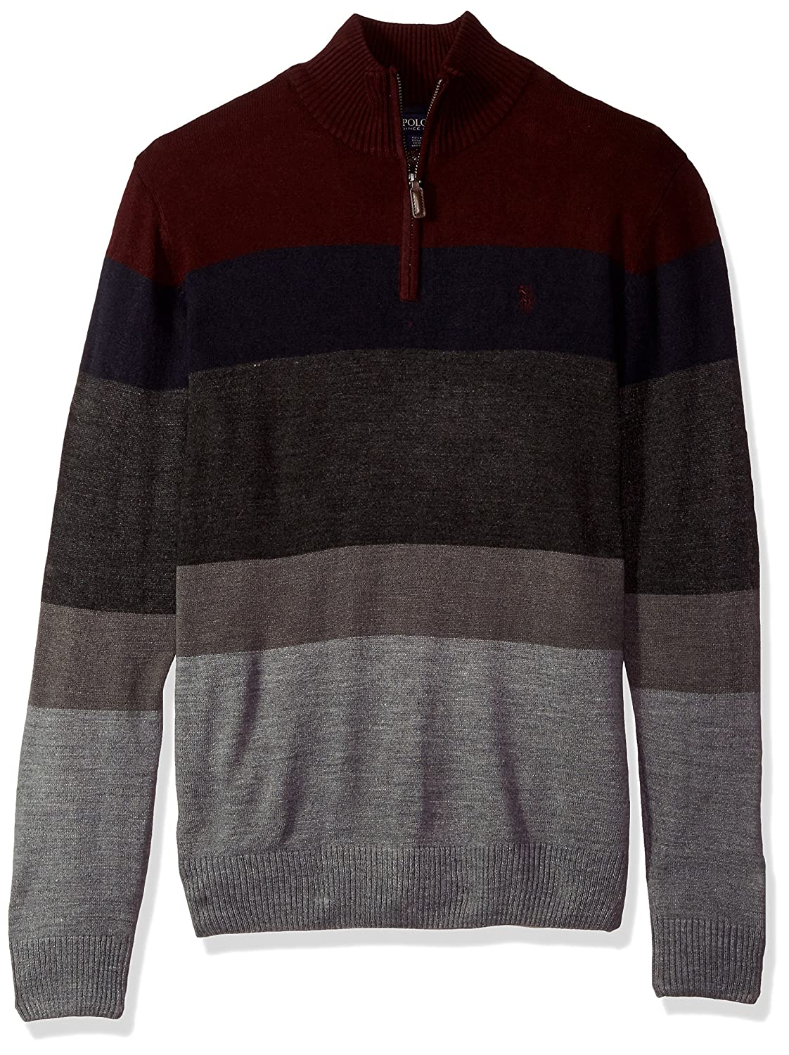 U.S. Polo Assn. Men's Double Striped 1/4 Zip Sweater, ACUF7S5766
