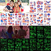 Konsait 90+ Pcs Fourth of July Temporary Tattoos, Glow in the Dark Patriotic Temporary Tattoos, USA Flags Temporary Tattoo for Memorial Day Independence Day Labor Day Party Favors Decorations