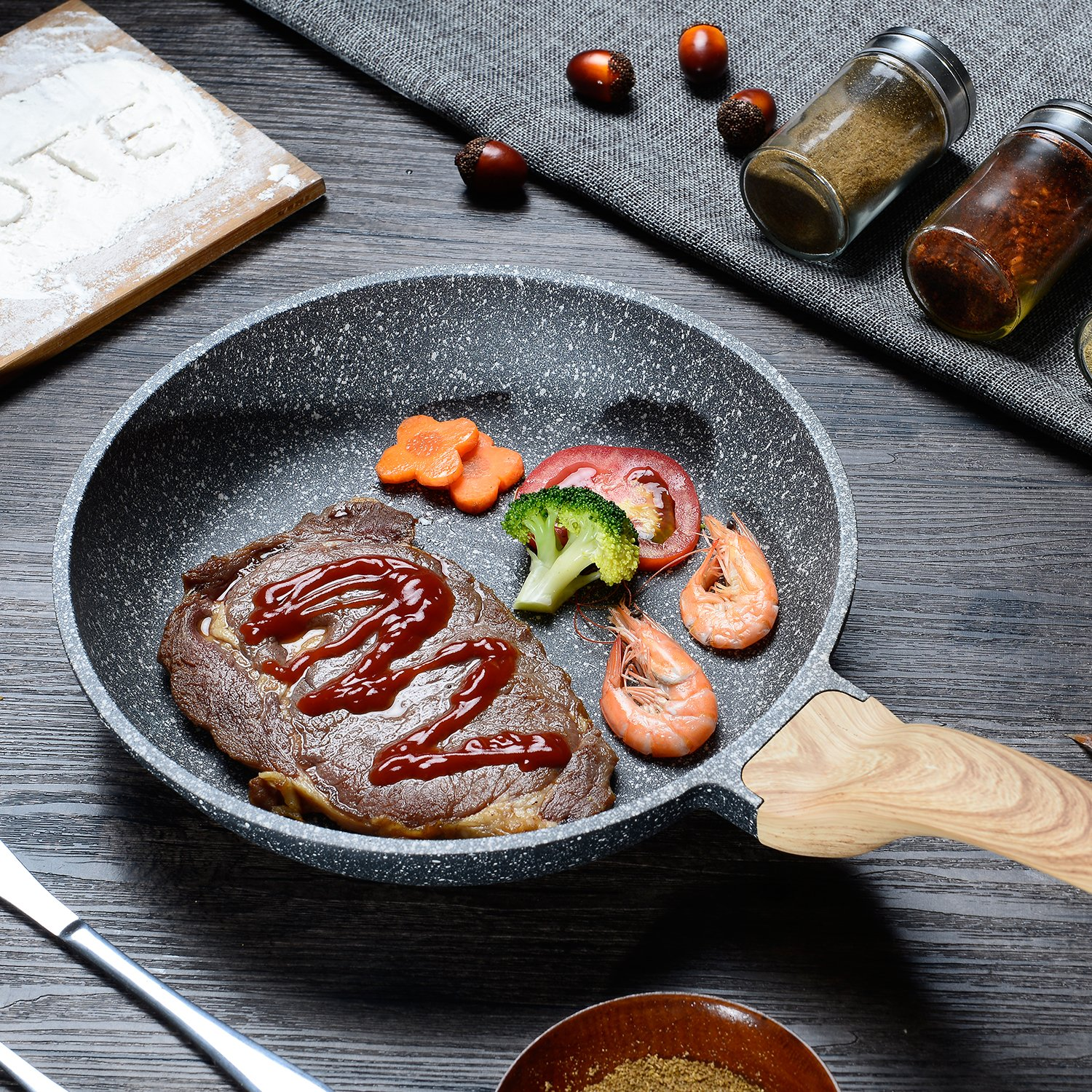 Carote 8 Inch Frying Pan PFOA Free Stone-Derived Non-Stick Coating From Switzerland, With Wood Effect Handle,Suitable For All Stove Including Induction