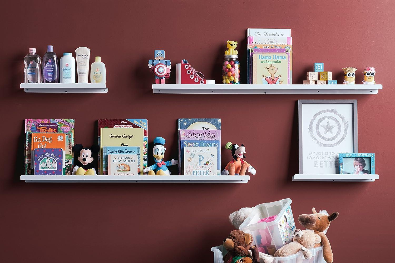 Amazon.com: Wallniture Wall Mount Floating Shelf For Baby Nursery Decor    Kids Metal Book Photo Display Ledge Bookshelf White 46 Inch: Kitchen U0026  Dining