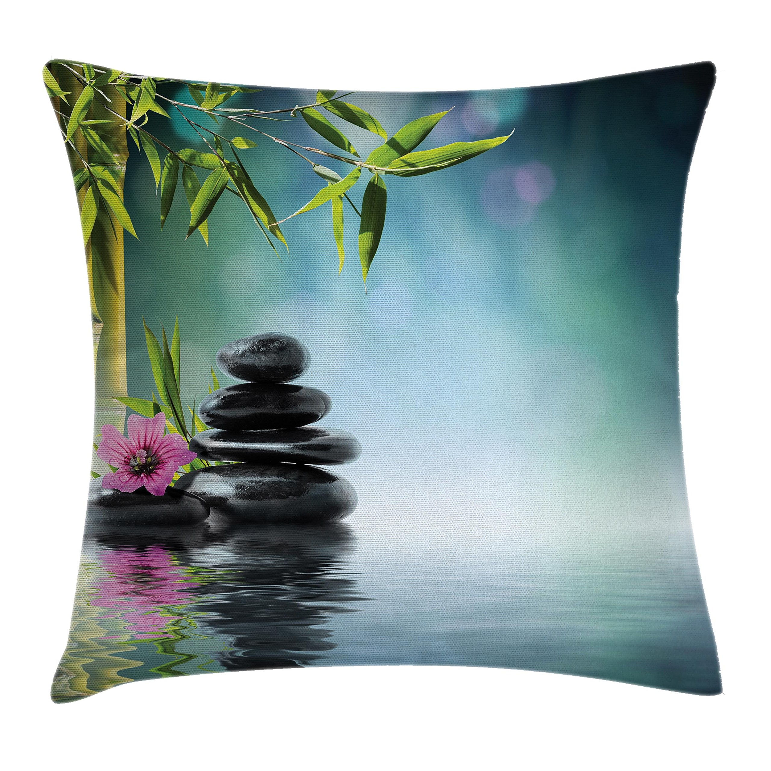 Ambesonne Spa Decor Throw Pillow Cushion Cover, Tower Stone and Hibiscus with Bamboo on The Water Blurred Background, Decorative Square Accent Pillow Case, 20 X 20 inches, Turquoise and Green