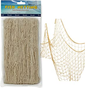 "Netting Decoration, Fish Net Party Decor – Natural Color Cotton Netting 48"" x 144"" Inches. Fishnet for Nautical Theme, Pirate Party, Hawaiian Party, Underwater, Beach, Ocean & Mermaid Party."