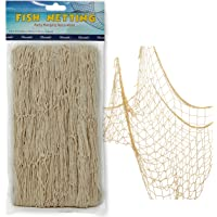 "Netting Decoration, Fish Net Party Decor – Natural Color Cotton Netting 48"" x 144"" Inches. Fishnet for Nautical Theme…"