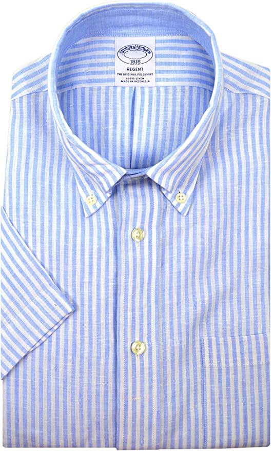 XX-Large Brooks Brothers Mens Regent Fit 100/% Linen Short Sleeve Button Down Shirt Blue White Striped