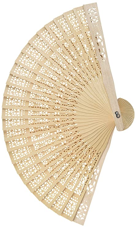 Super Z Outlet Chinese Sandalwood Scented Wooden Openwork Personal Hand Held Folding Fans For Wedding Decoration Birthdays Home Gifts 48 Pack