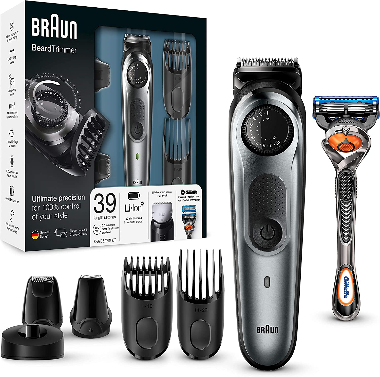 Braun BT7040 - Máquina Cortar Pelo, Recortadora Barba y Cortapelos, Recortadora para Pequeños Detalles, Miniafeitadora, con Maquinilla Gillette Fusion 5 ProGlide, Color Negro/Gris: Amazon.es: Salud y cuidado personal