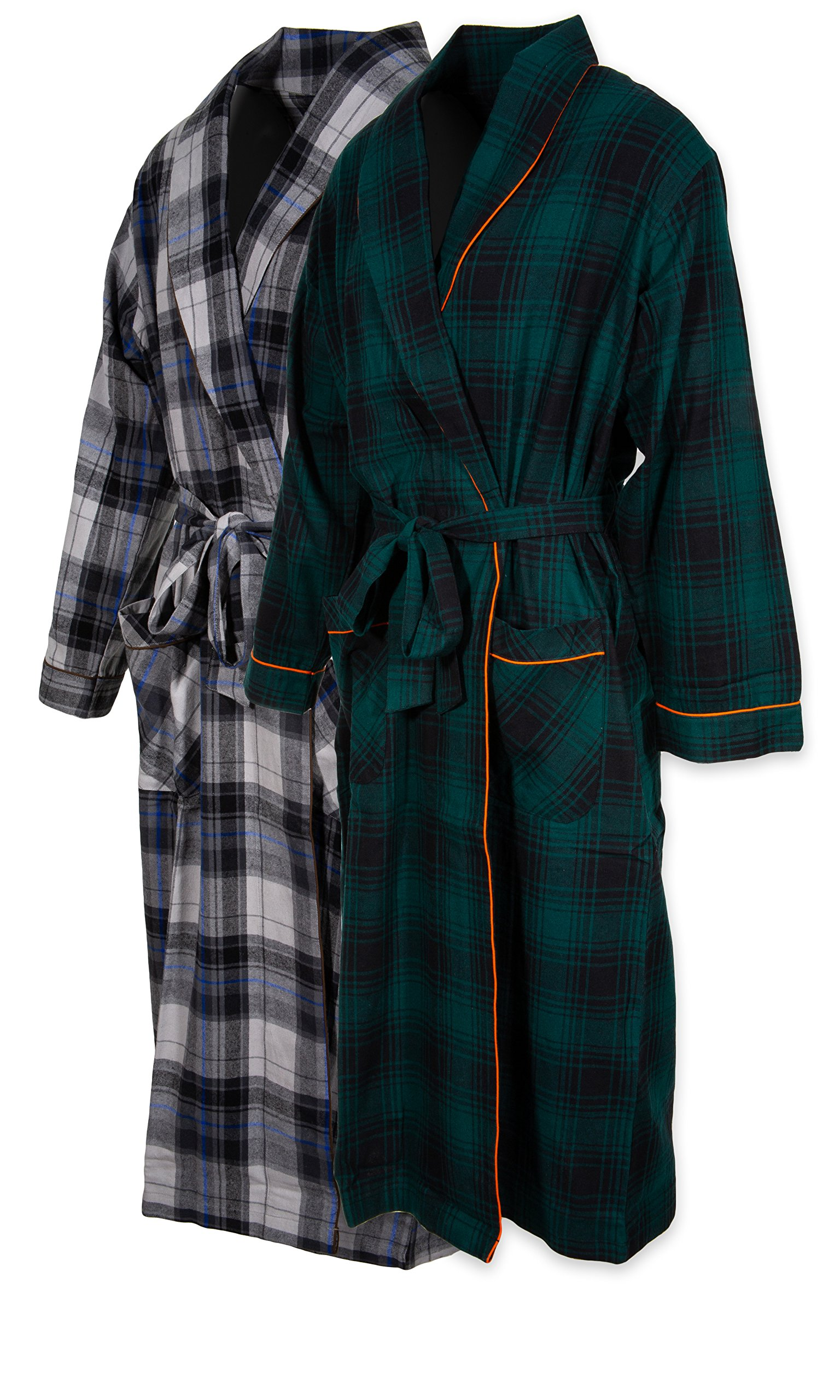 Andrew Scott Mens 2 Pack Long Sleep -Sauna Robe/100% Cotton Flannel Brush Warm Bathrobe (2 Pack-Assorted Plaids, 2XL/3XL)