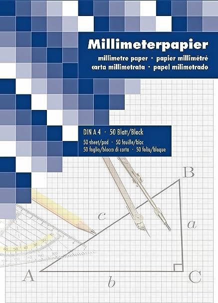 Papel milimetrado Bloc de dibujo dibujo técnico 50 hojas DIN A4 2ér Pack: Amazon.es: Oficina y papelería