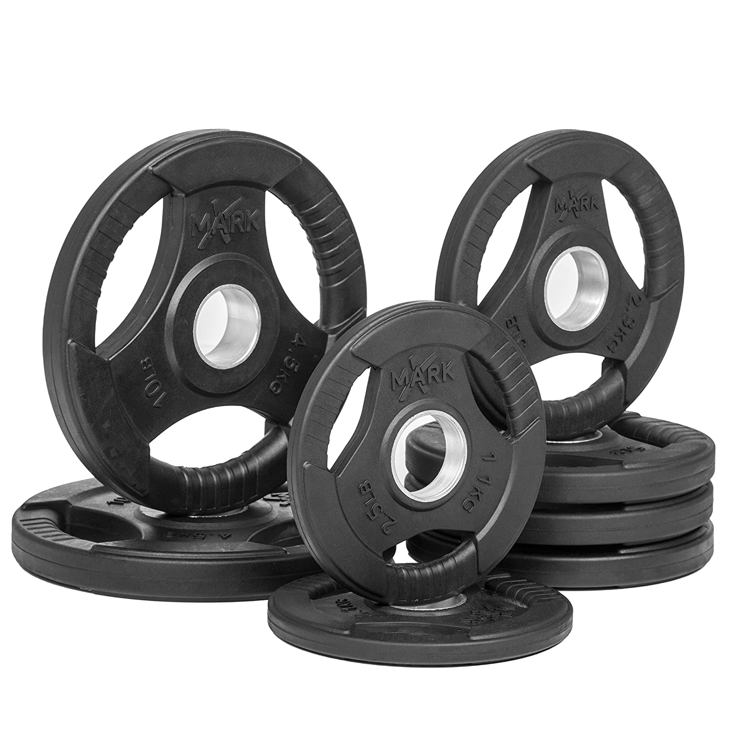 xmark premium quality rubber coated trigrip olympic plate weights sold in sets