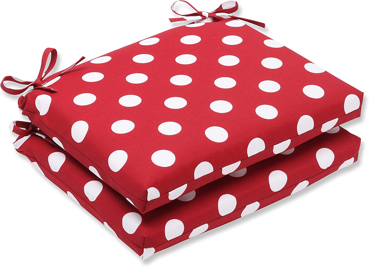 Pillow Perfect Indoor Outdoor Red White Polka Dot Seat Cushion, Squared, 2-Pack