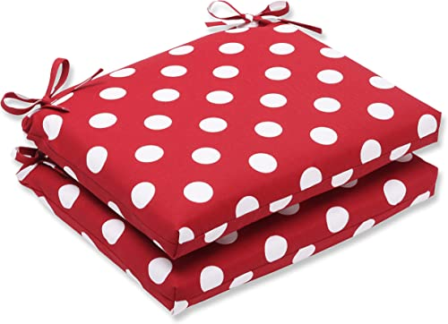 Pillow Perfect Outdoor Indoor Polka Dot Square Corner Seat Cushions, 18.5 in. L X 16 in. W X 3 in. D, Red, 2 Pack