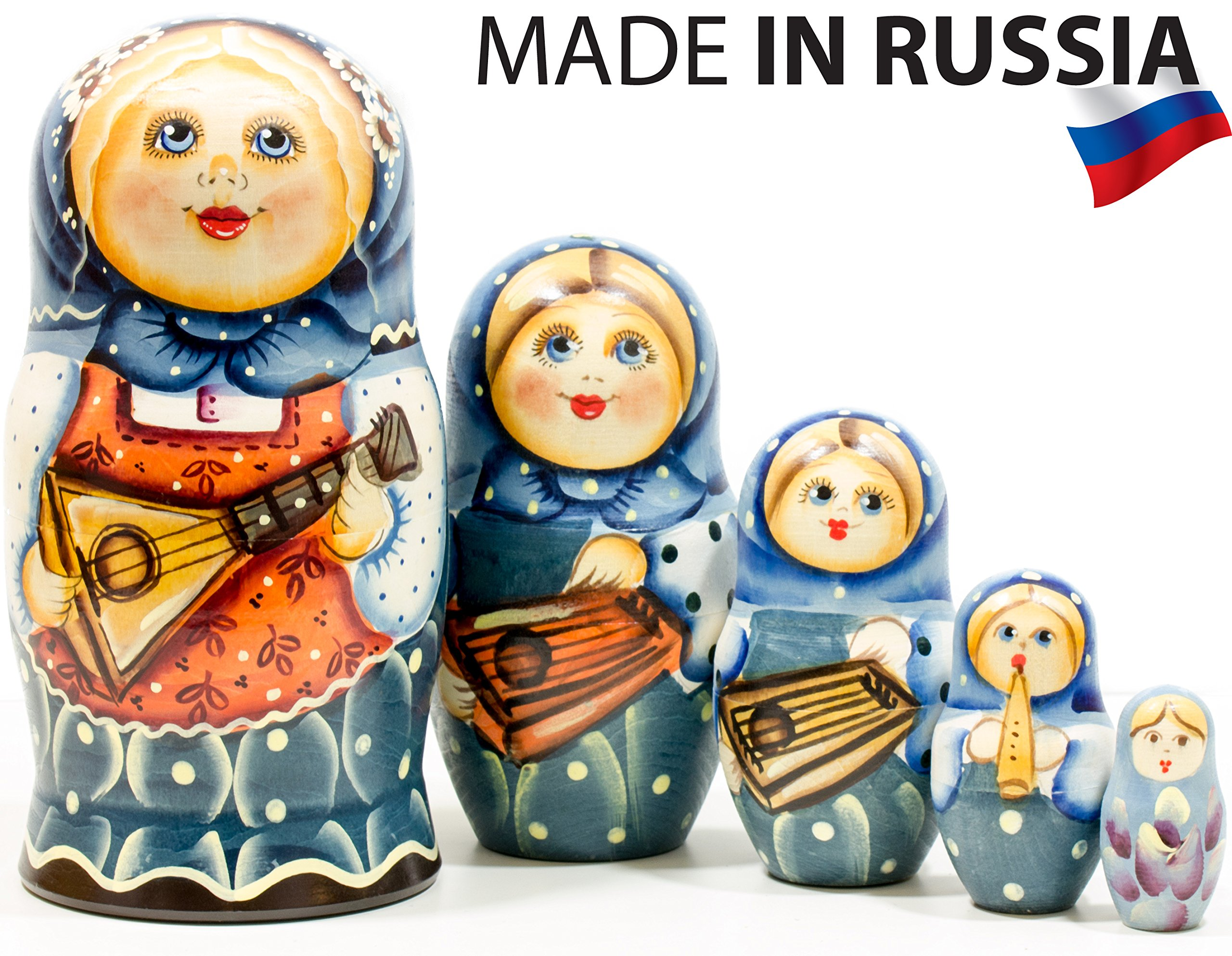 Russian Nesting Doll - ''Masha'' - Hand Painted in Russia - 6 style variations - Traditional Matryoshka Babushka C (6.75``(5 dolls in 1), Style D)