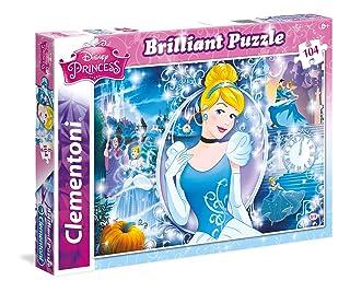 Clementoni - 20132 - Brilliant Puzzle - Princess, Cindarella - 104 Pezzi - Disney Clementoni Spa Italy