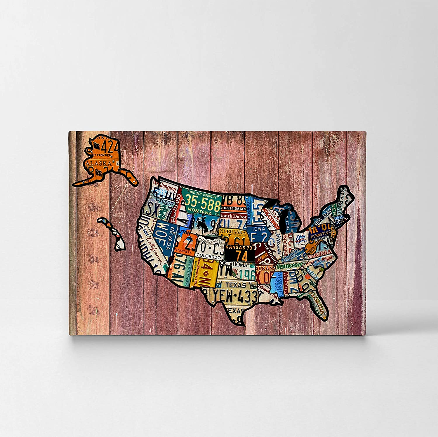 Amazon.com: United States Map License Plate Map Canvas Print ... on using map of missouri license plates, united states map printable pdf, united states license plate game, 50 states license plates, united states map with scale, us map made of license plates, united states license plate designs, united states map art, united states licence plates, united states license plates 2014, united states map printout, furniture made from license plates,