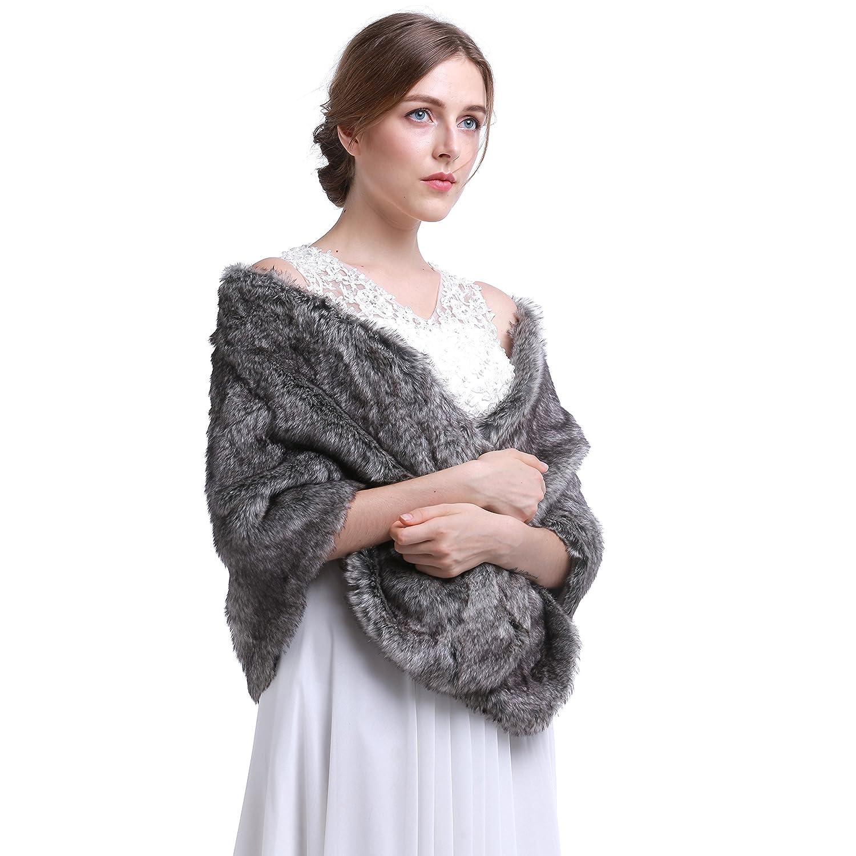 EastOsmanthus Grey Sleeveless Faux Fur Bridal Wrap Shawl