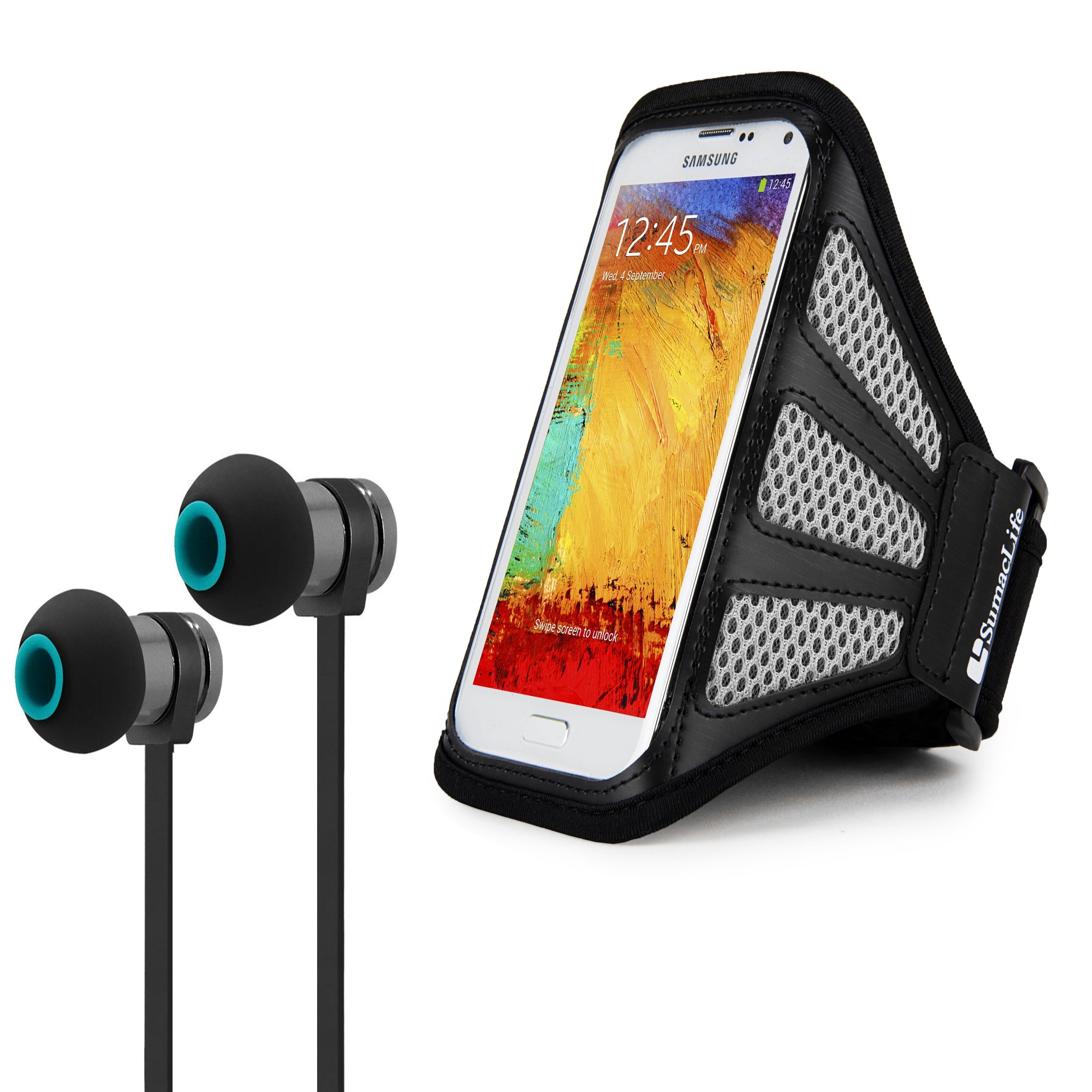 Active Fitness Bundle Includes Gray Media Device Armband + Wireless Stereo Headphones for Google Pixel, Pixel 2, Pixel 2XL, and Huawei Mate 10 Pro, 10, SE, 9 Ascend XT², Elate