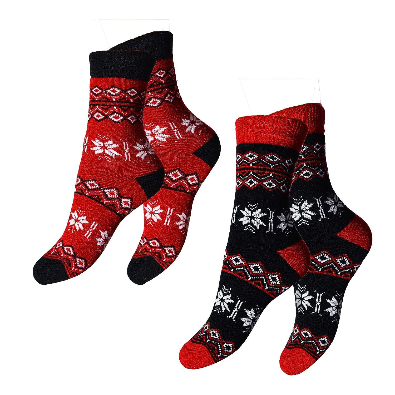 Natur Sox 2 Paar Damen Winter Woll Socken, Damensocken extra Warm, Thermosocken extra Weich mit Norwegermuster