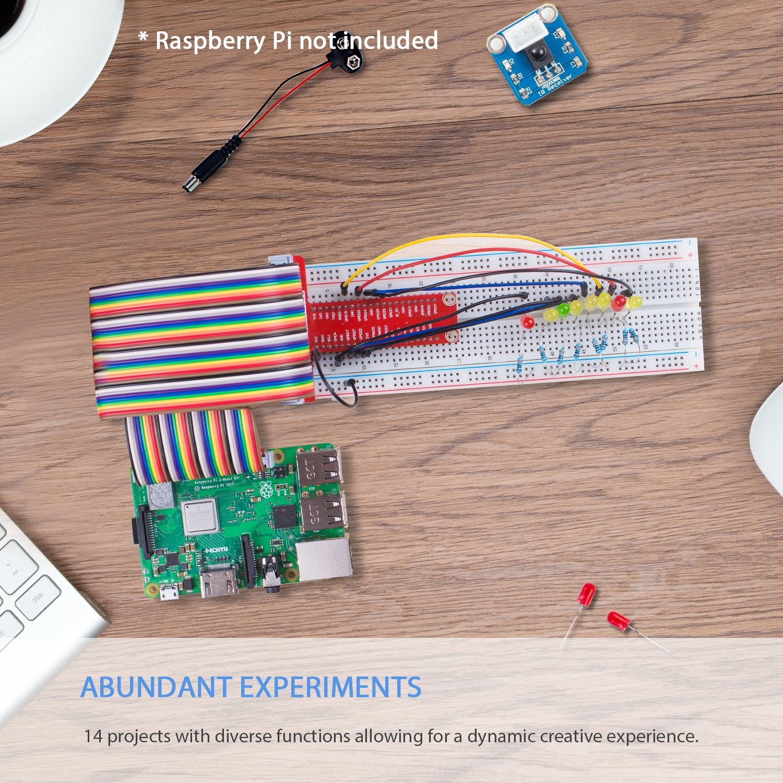 Sunfounder Raspberry Pi 3 Model B Starter Kit Project Blinking Led Circuit Using 555 Timer Youtube Super For Rpi 3b 2b A Zero Including Gpio Breakout Board Breadboard Lcd Dc Motor Rgb Dot