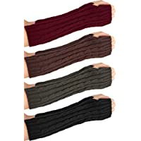 4 Pairs Knitted Arm Warmers Gloves Winter Long Fingerless Gloves Thumb Hole Gloves Mittens for Women and Men