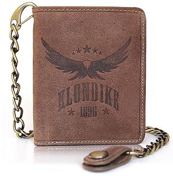"Klondike 1896 Cartera de piel auténtica ""Wayne Eagle"" con cadena, cartera de"