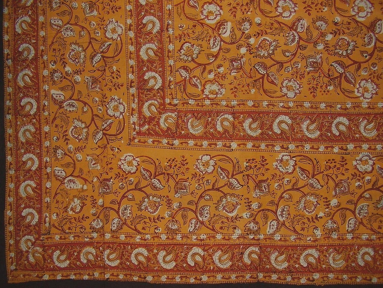 Earth Dabu Block Print Indian Tapestry Cotton Spread 270cm x 220cm Full Amber B079YW6CYQ