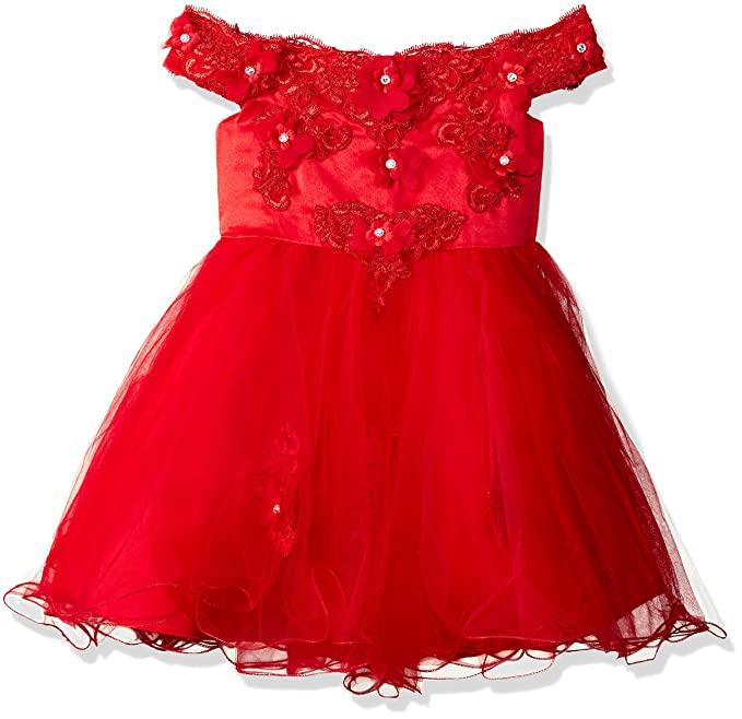 e81ff11655591 Si Rosa by Hopscotch Girls Charming Cold Shoulder Party Dress in Red Colour  for Ages 6