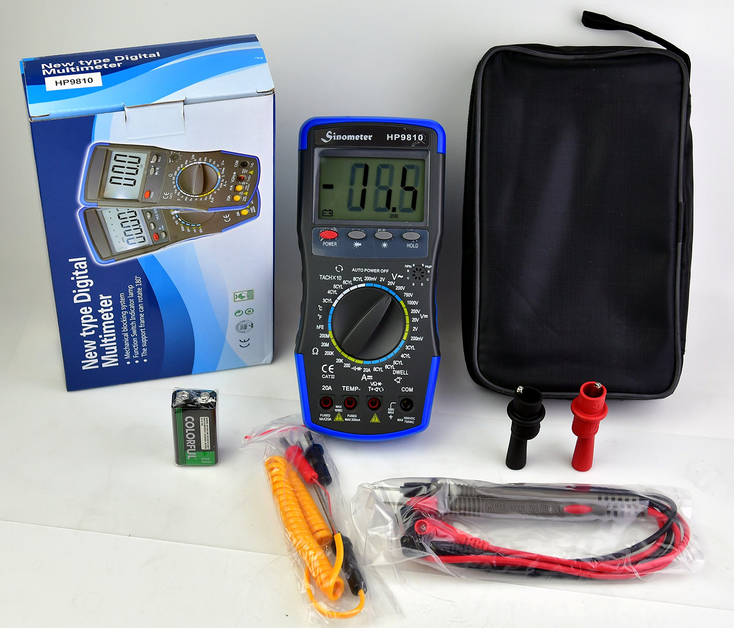 Sinometer HP9810 Automotive Digital Multimeter with Thermometer and Carrying Case by Sinometer (Image #6)