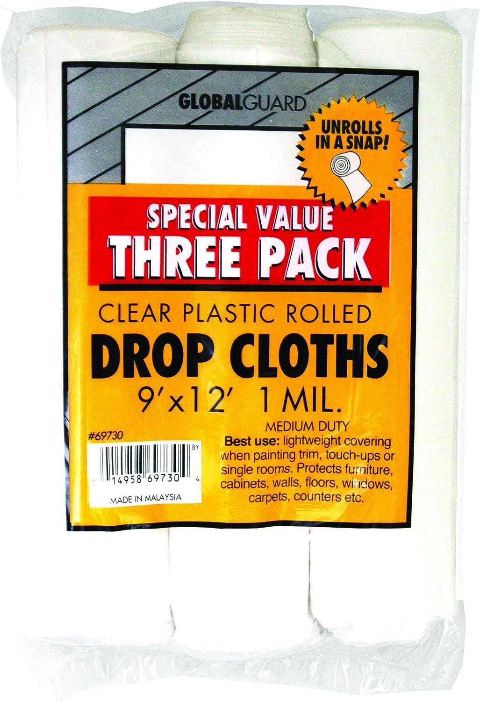 Premier 9' x 12' 1 MIL Clear Plastic Drop Cloth Rolled, 3 Pack, 69730 - Paint Drop Cloths -